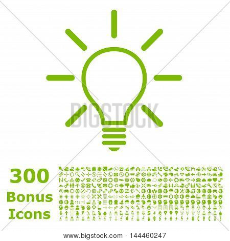Light Bulb icon with 300 bonus icons. Vector illustration style is flat iconic symbols, eco green color, white background.