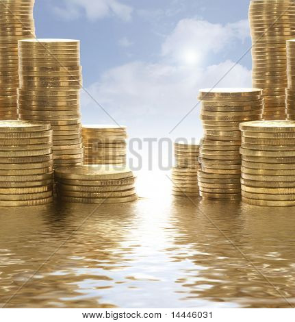 Coins over romantic background