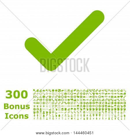 Ok icon with 300 bonus icons. Vector illustration style is flat iconic symbols, eco green color, white background.