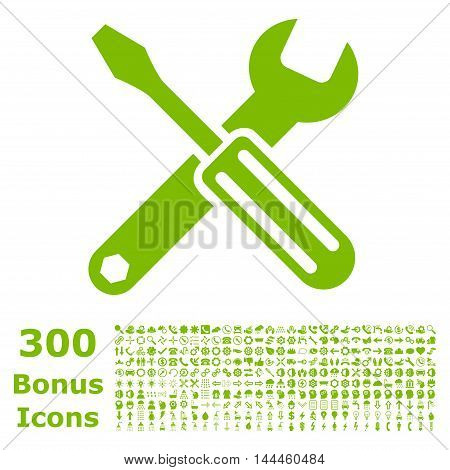 Options icon with 300 bonus icons. Vector illustration style is flat iconic symbols, eco green color, white background.