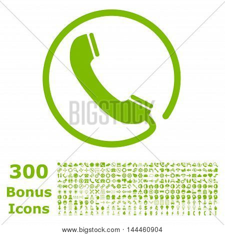 Phone icon with 300 bonus icons. Vector illustration style is flat iconic symbols, eco green color, white background.