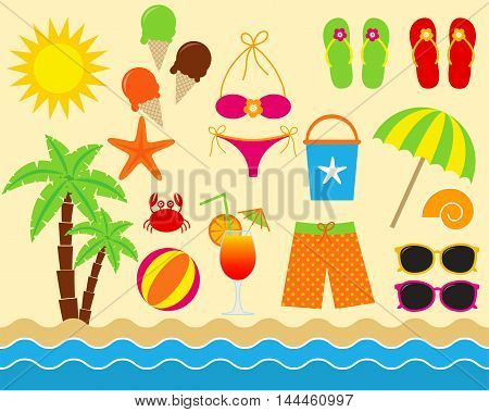 Vector colorful sea vacation beach elements set