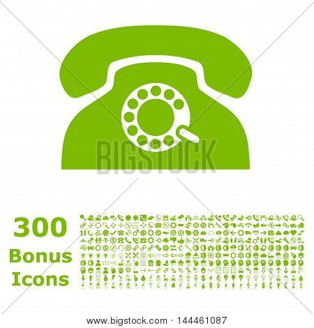 Pulse Phone icon with 300 bonus icons. Vector illustration style is flat iconic symbols, eco green color, white background.
