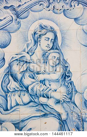 Azulejo Of Madonna With Child In The Cathedral Of Aveiro