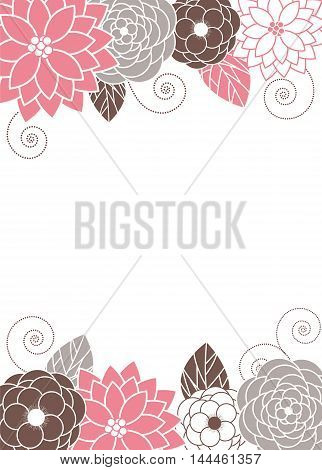 Vector pastel pink, grey and brown floral card
