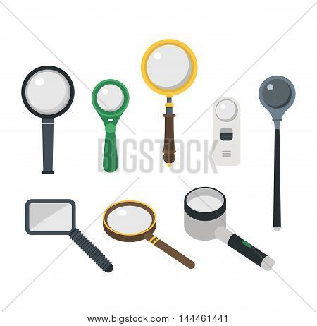 Optical magnifier loupe icons symbols abstract vector illustration. Research interface business search instrument magnifier loupe icons. Research exploration sign magnifier loupe icons equipment.