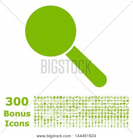 Search Tool icon with 300 bonus icons. Vector illustration style is flat iconic symbols, eco green color, white background.
