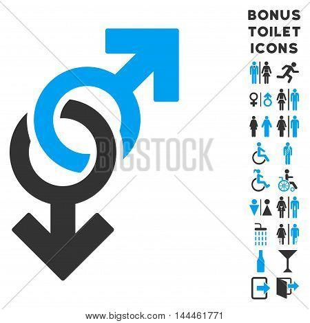 Gay Symbol icon and bonus man and female WC symbols. Vector illustration style is flat iconic bicolor symbols, blue and gray colors, white background.