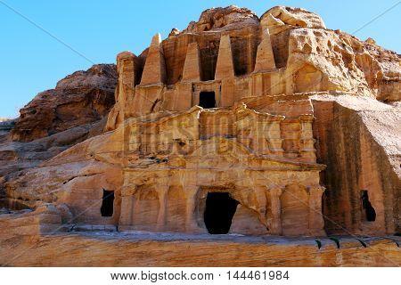 Beautiful view of tombs in Petra, JORDAN.