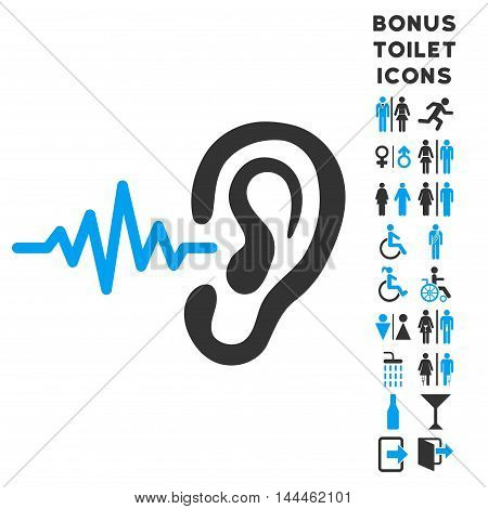 Listen Ear icon and bonus man and lady WC symbols. Vector illustration style is flat iconic bicolor symbols, blue and gray colors, white background.