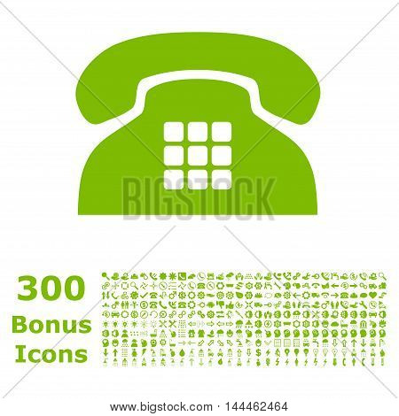 Tone Phone icon with 300 bonus icons. Vector illustration style is flat iconic symbols, eco green color, white background.