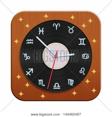 Zodiac clock icon isolated on white background