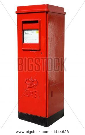 Oblong Shaped Red British Post Box.