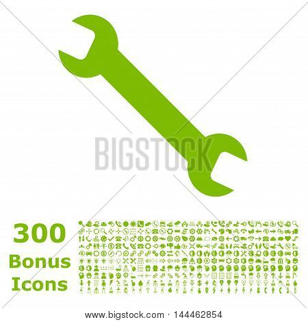 Wrench icon with 300 bonus icons. Vector illustration style is flat iconic symbols, eco green color, white background.