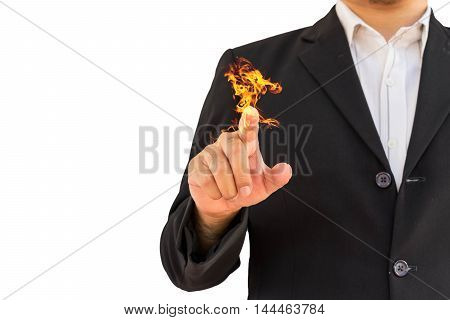 man in black suit point his fire finger you on white background for use to create photo concept