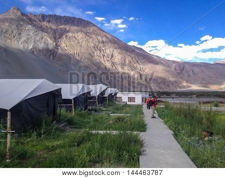LADAKH INDIA - JUL 9 : Tourists visit Nubra Valley Ladakh India on July 9 2014