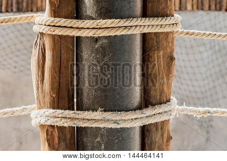 rope texure and wood pillar pattern for background