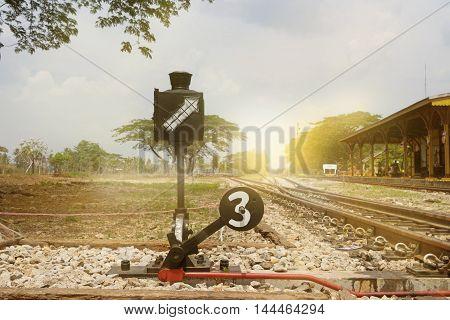 last stop of railway on sun light