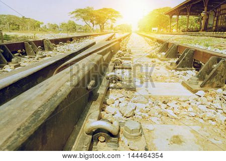 abstract of railway and train station on sun light for background