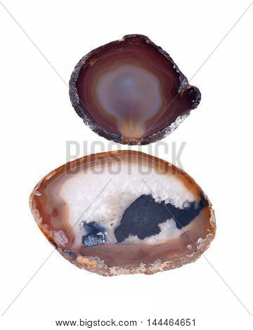 Polished colorful agate stones separated on white background