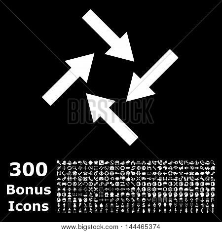 Centripetal Arrows icon with 300 bonus icons. Vector illustration style is flat iconic symbols, white color, black background.