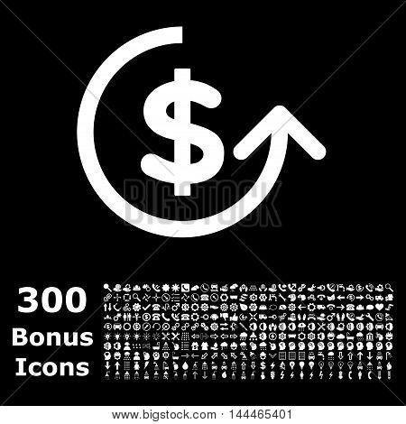 Chargeback icon with 300 bonus icons. Vector illustration style is flat iconic symbols, white color, black background.