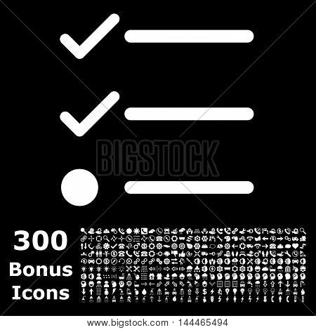 Checklist icon with 300 bonus icons. Vector illustration style is flat iconic symbols, white color, black background.