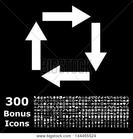 Circulation Arrows icon with 300 bonus icons. Vector illustration style is flat iconic symbols, white color, black background.