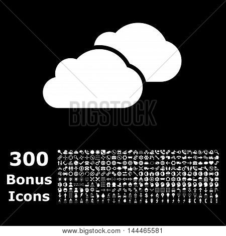 Clouds icon with 300 bonus icons. Vector illustration style is flat iconic symbols, white color, black background.