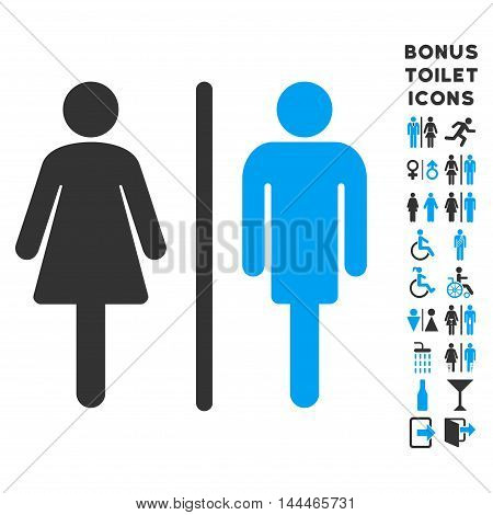 WC Persons icon and bonus man and lady restroom symbols. Vector illustration style is flat iconic bicolor symbols, blue and gray colors, white background.