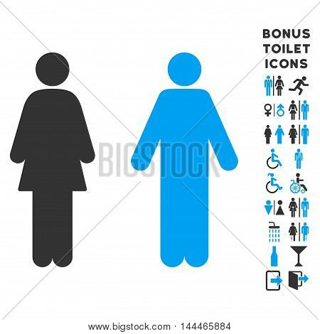 WC Persons icon and bonus male and woman toilet symbols. Vector illustration style is flat iconic bicolor symbols, blue and gray colors, white background.