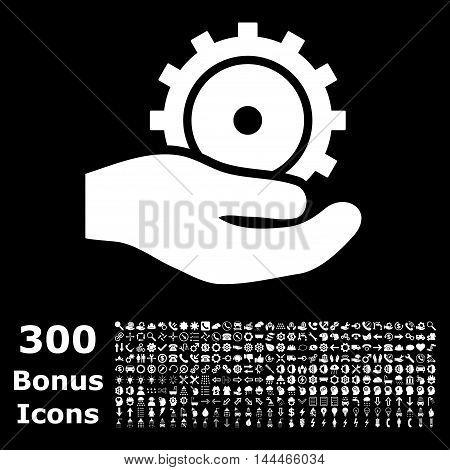 Development Service icon with 300 bonus icons. Vector illustration style is flat iconic symbols, white color, black background.