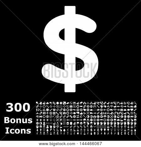 Dollar icon with 300 bonus icons. Vector illustration style is flat iconic symbols, white color, black background.