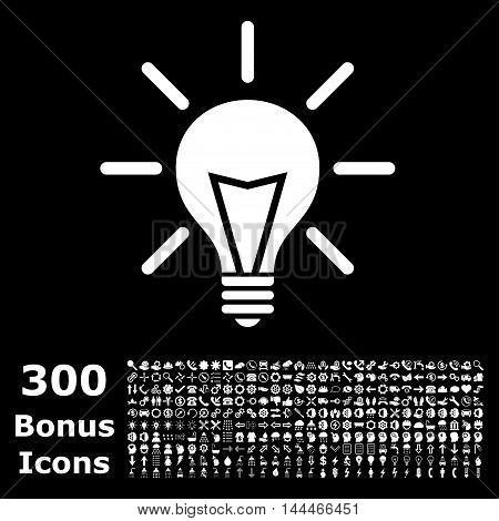 Electric Light icon with 300 bonus icons. Vector illustration style is flat iconic symbols, white color, black background.