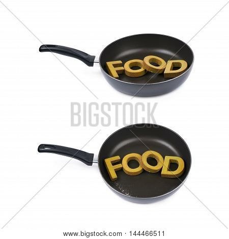 Word food made of colored wooden letters in a cooking pan, composition isolated over the white background, set of two different foreshortenings