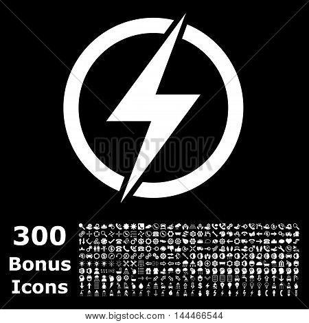 Electricity icon with 300 bonus icons. Vector illustration style is flat iconic symbols, white color, black background.