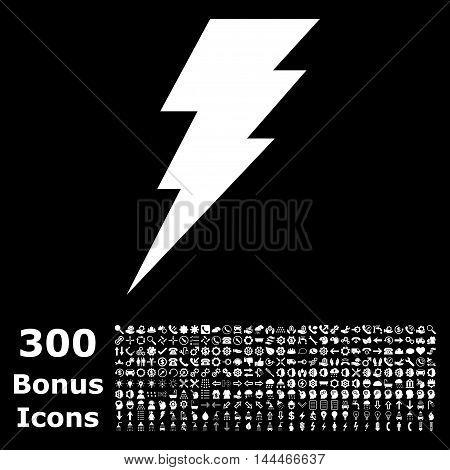 Execute icon with 300 bonus icons. Vector illustration style is flat iconic symbols, white color, black background.