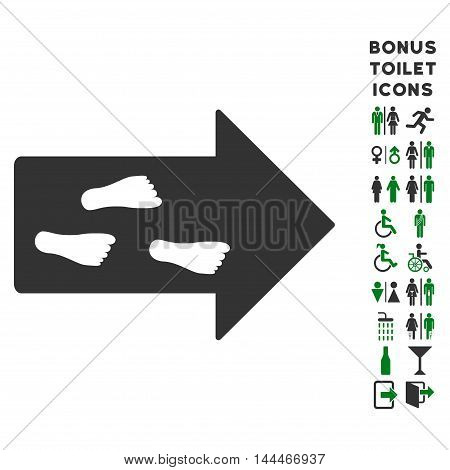 Exit Direction icon and bonus male and woman toilet symbols. Vector illustration style is flat iconic bicolor symbols, green and gray colors, white background.