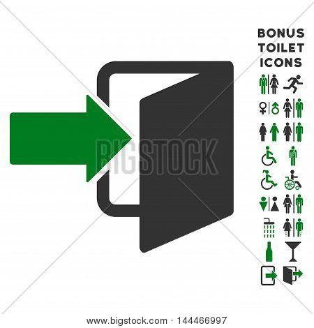 Exit Door icon and bonus male and female WC symbols. Vector illustration style is flat iconic bicolor symbols, green and gray colors, white background.