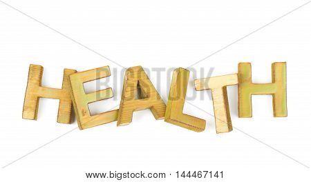 Word Health made of colored with paint wooden letters, composition isolated over the white background