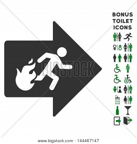 Fire Exit icon and bonus male and woman restroom symbols. Vector illustration style is flat iconic bicolor symbols, green and gray colors, white background.