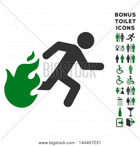 Fired Running Man icon and bonus male and lady WC symbols. Vector illustration style is flat iconic bicolor symbols, green and gray colors, white background.