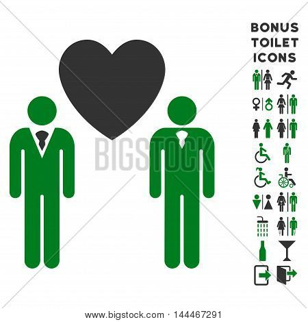Gay Lovers icon and bonus man and female lavatory symbols. Vector illustration style is flat iconic bicolor symbols, green and gray colors, white background.