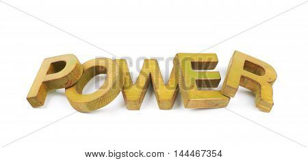 Word Power made of colored with paint wooden letters, composition isolated over the white background