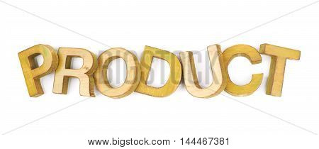 Word Product made of colored with paint wooden letters, composition isolated over the white background