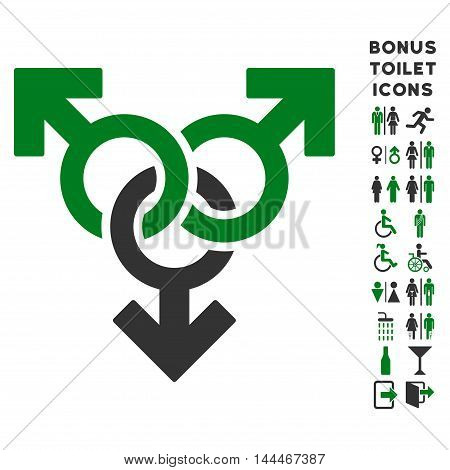 Group Gay Sex icon and bonus gentleman and woman WC symbols. Vector illustration style is flat iconic bicolor symbols, green and gray colors, white background.