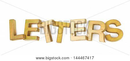 Word Letters made of colored with paint wooden letters, composition isolated over the white background