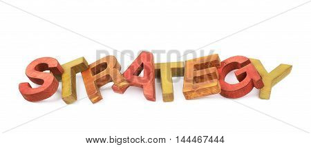 Word Strategy made of colored with paint wooden letters, composition isolated over the white background
