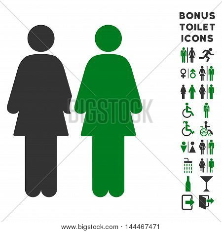 Lesbi Couple icon and bonus male and female toilet symbols. Vector illustration style is flat iconic bicolor symbols, green and gray colors, white background.