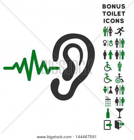 Listen Ear icon and bonus gentleman and lady WC symbols. Vector illustration style is flat iconic bicolor symbols, green and gray colors, white background.